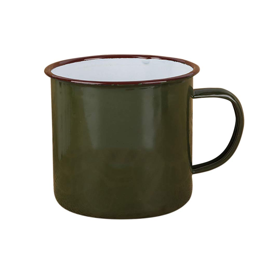 giveyoulucky Vintage Military Army Green Travel Portable Water Cup Drinking Thicken Mug 6cm Army Green Army Green