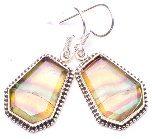 (Natural Fluorite Handmade Unique 925 Sterling Silver Earrings 1.25