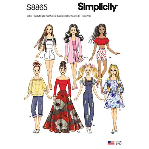 Sewing Doll Patterns Barbie - Simplicity US8865OS Pattern S8865 11 1/2