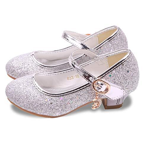 Kids Girls Flats Sparkle Party Mary Jane Princess Dress Shoes (11.5M US Little Kid, Sliver)]()
