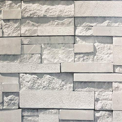 CROWN Brick Wallpaper Peel and Stick Natural Stacked Stone Decor Waterproof Removable Self Adhesive Textured Vintage for Bathroom TV Background Kitchen Living Room Bedroom (Tile Faux Stone)
