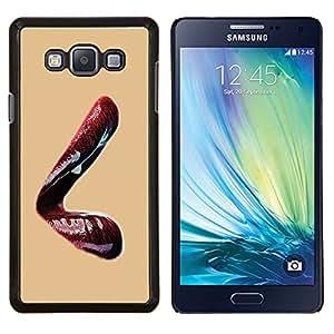 KLONGSHOP // Cubierta de piel con cierre a presión Shell trasero duro de goma Protección Caso - Labios rojos hermosos - Samsung Galaxy A7 A7000 //