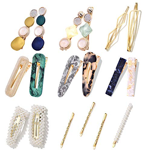 18Pcs Hair Clips - Cehomi Fashion Korean Style Pearls Hair Barrettes Sweet Artificial Macaron/Acrylic Resin Hair Barrettes Hairpins for Women,Ladies and Girls Headwear Styling Tools Hair Accessories