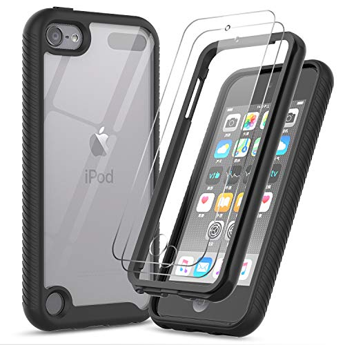 iPod Touch 7th/6th/5th Generation Case, iPod Touch Case with Tempered Glass Screen Protector [2 Pack], LeYi Full-Body Armor Hybrid Rugged Protective Clear Bumper Case Cover for Apple iPod Touch 7/6/5 (Ipod 5th Cases)