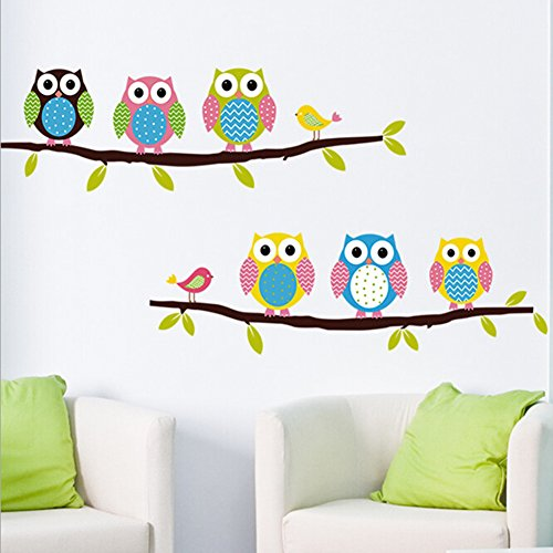 Finished Poster Bed (Rihe 6 Lovely Owls Standing on the Branches Removable PVC Wall Stickers for Kids Bedroom Art Wall Decoration Home Decor)
