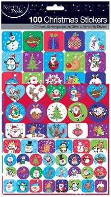 Pack of 100 Christmas Stickers - 100 pegatinas de Navidad: Amazon.es: Juguetes y juegos