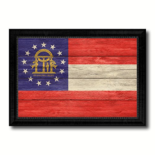 (Georgia State Flag Textured Canvas Print with Black Picture Frame Home Decor Wall Art Decoration Gift Ideas, 19
