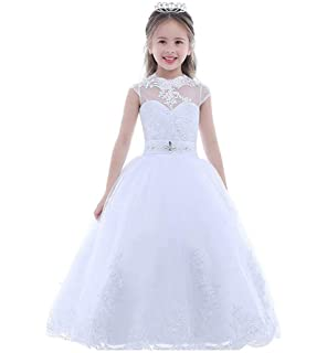 aaddac0ae Amazon.com  CoCoGirls Girls First Communion Dresses Lace Half Sleeve ...