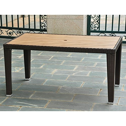 International Caravan Barcelona Resin Wicker/Aluminum Rectangular Dining Table - 4200-RT-CH