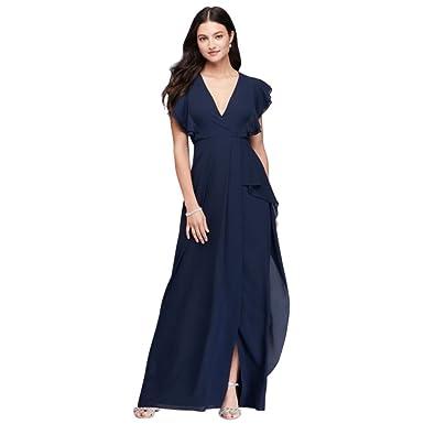 5372e18378a69 David's Bridal Flutter Sleeve Chiffon Bridesmaid Dress Style 264210 at  Amazon Women's Clothing store: