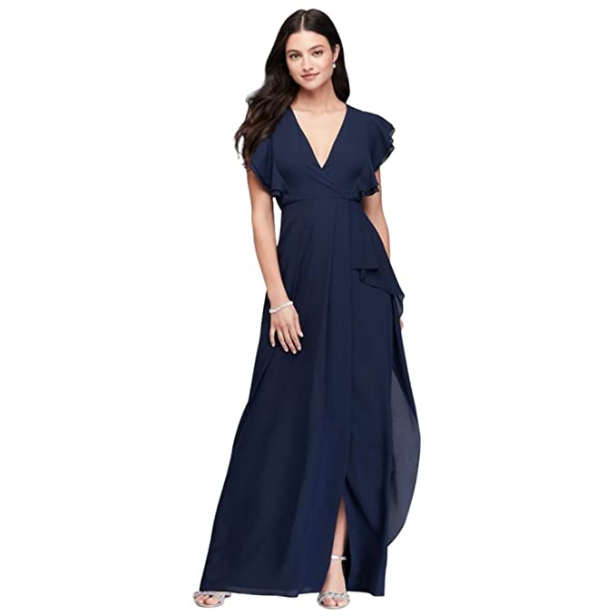 David\'s Bridal Flutter Sleeve Chiffon Bridesmaid Dress Style 264210 ...