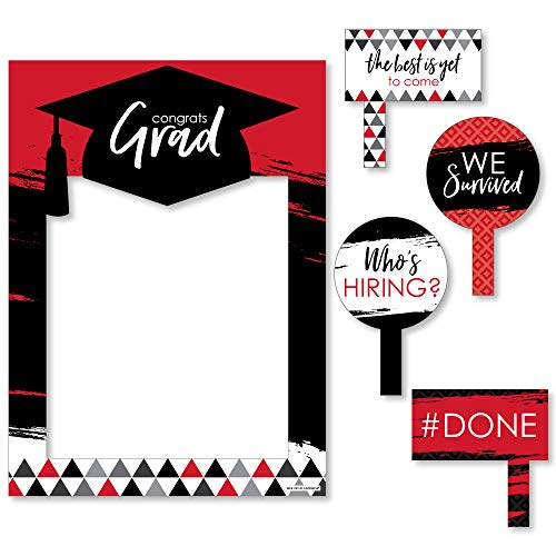 Red Grad - Best is Yet to Come - Red Graduation Party Selfie Photo Booth Picture Frame & Props - Printed on Sturdy Material ()