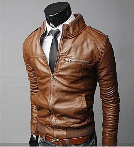 Biker Runyue Colletto Casual Giacca Leather Marrone Pu Moto In Dritto Motociclista Pelle Uomo qYgAY