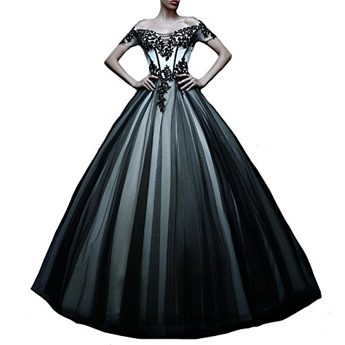 Kivary Off Shoulder White and Black Tulle Gothic Lace Vintage Prom Dresses Wedding Gowns US 10