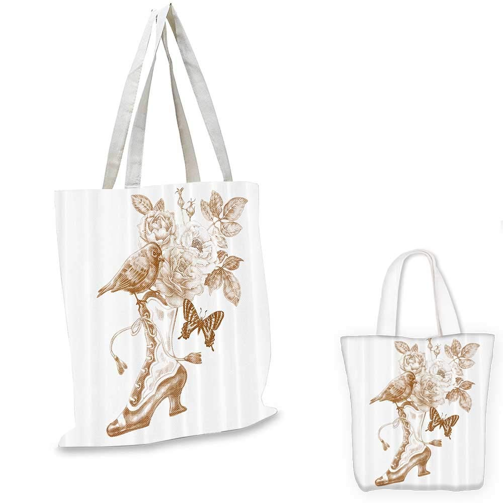 14x16-11 Victorian Decor canvas messenger bag Nostalgic Boots with Roses Butterfly and Bird British Trend Upper Class Shoe Art Work canvas beach bag Brown White