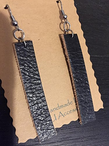 Simple Bohemian Leather Long Dangle Earrings Rustic handcut Black Leather Drop Earrings Essencial Oil Diffuser Unique gift Handmade BoHo Style Joanna Gaines Inspired