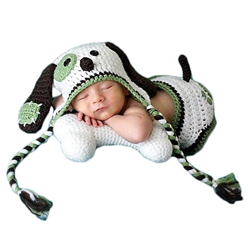 Baby Photography Props Boy Girl Photo Shoot Outfits Newborn Crochet Costume Infant Knitted Clothes Puppy Hat Shorts Green