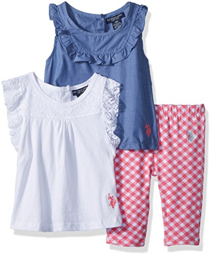 U.S. Polo Assn. Baby Girls Knit, Fashion Top and Pant Set, Ruffle Check Legging White, 3-6 Months (Us Polo Girl Assn Baby)