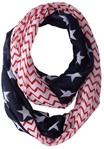 D&Y Women's Stars and Chevron Americana Scarf, Navy, One Size (America Infinity Scarf)
