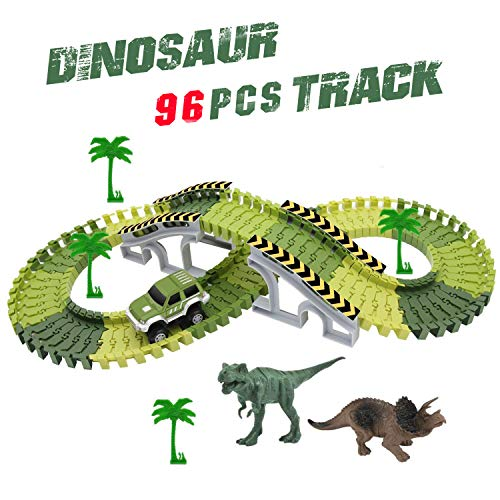 One Funny Tree Car (HOMOFY Dinosaurs Toys Race Car Tracks with 96 Pieces Flexible Tracks Set 2 Dinosaurs and Military Vehicles 4 Trees&2 Slopes for Kids Toddlers Toys 1 2 3 4 Years Old Boys&Girls)