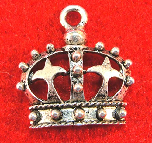 10Pcs. Tibetan Silver Queen Crown Charms Pendants Drops Jewelry Findings PR138 Crafting Key Chain Bracelet Necklace Jewelry Accessories Pendants