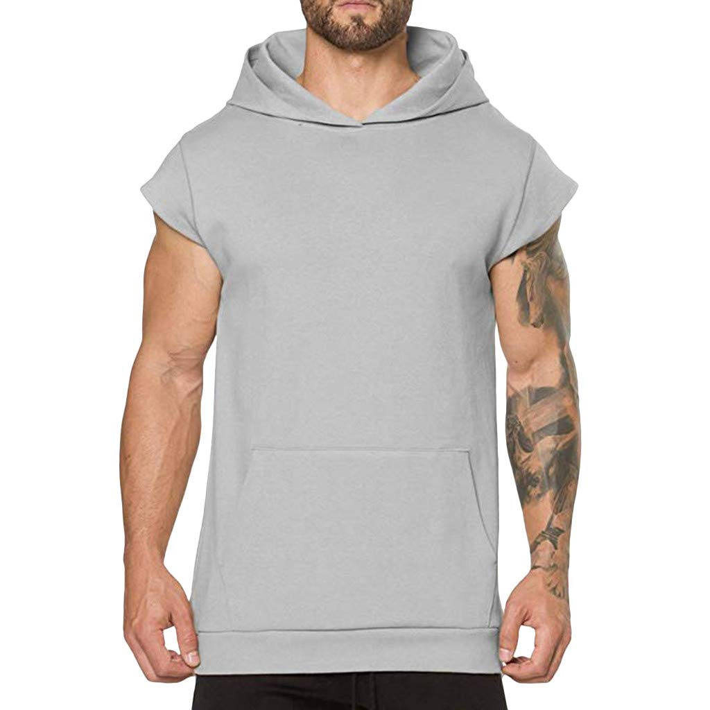 Goldweather Men Hooded T-Shirt Short Sleeve Summer Casual Solid Pocket Pullover Hoodie Sport Shirts Tank Tops (XL, Gray) by Goldweather