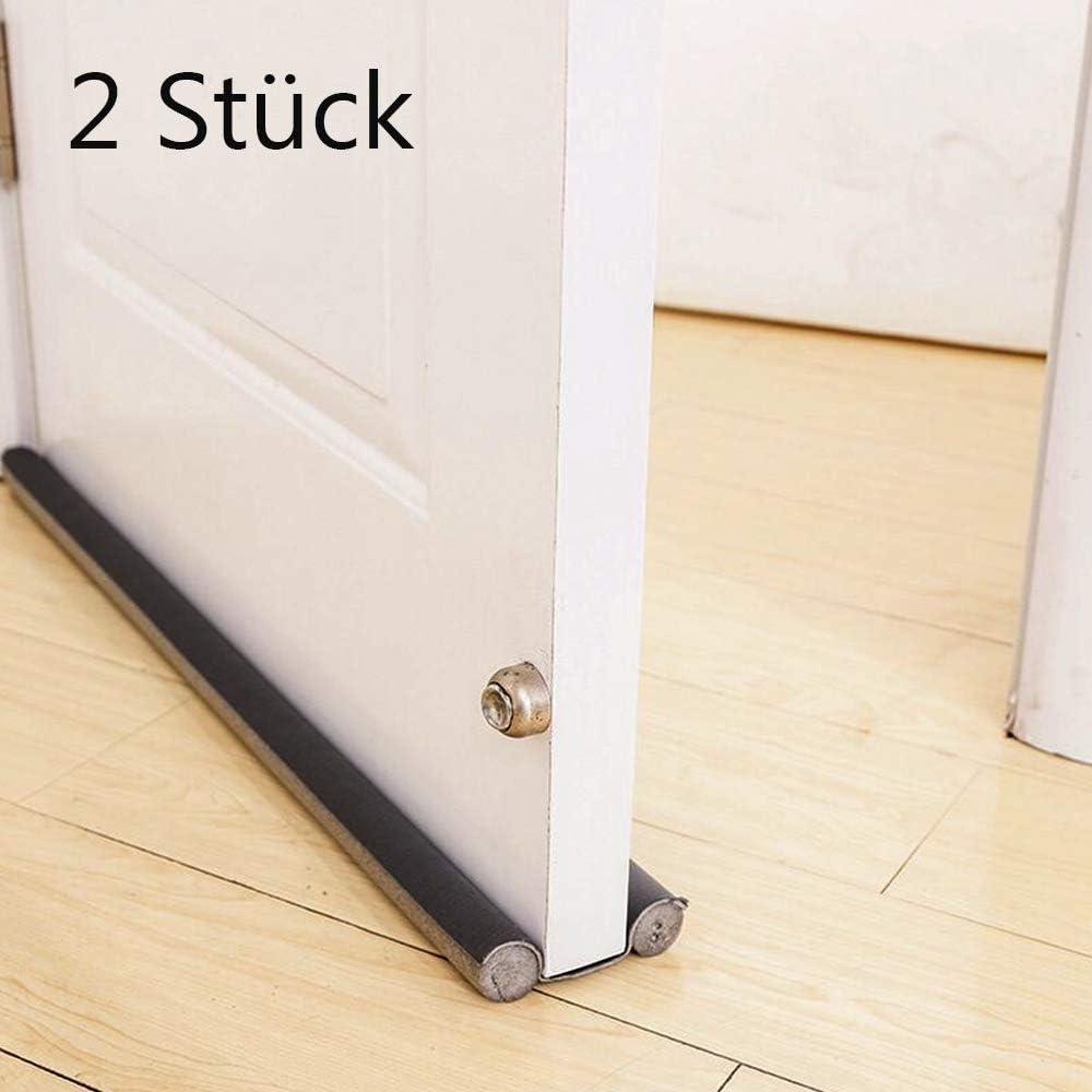 JDD - 2 topes de aire para puertas – Negro 90 cm recortable & apto para cualquier puerta hermética y caliente, detener olores e insectos, puerta de cierre de aire con 2