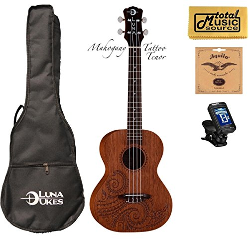 Luna Mahogany Series Tattoo Tenor Ukulele w/ Gigbag,Tuner,Strings & PC by Luna Guitars