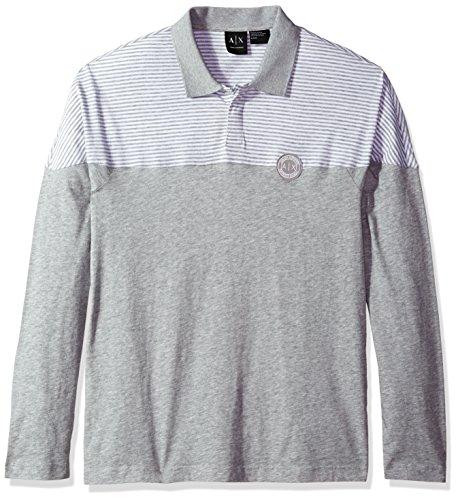 A|X Armani Exchange Men's Cotton Jersey Long Sleeve Polo, Grey,