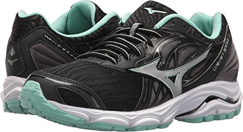 Mizuno Women's Wave Inspire 14 Running Shoe, Black/Silver, 8 B US