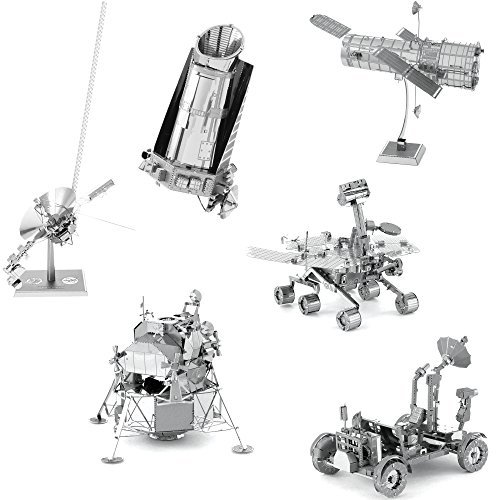(Fascinations Metal Earth Space 3D Metal Model Kits -Hubble Telescope - Apollo Lunar Rover - Apollo Lunar Module - Mars Rover - Kepler Spacecraft - Voyager - Set of 6)