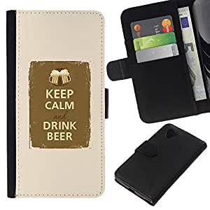 KingStore / Leather Etui en cuir / LG Nexus 5 D820 D821 / Buvez Beer Party Fraternité