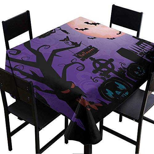 Warm Family Easy Care Tablecloth Illustration_Pumpkin Old Wood Cemetery a Holiday in October Halloween Indoor Outdoor Camping Picnic W50 x L50
