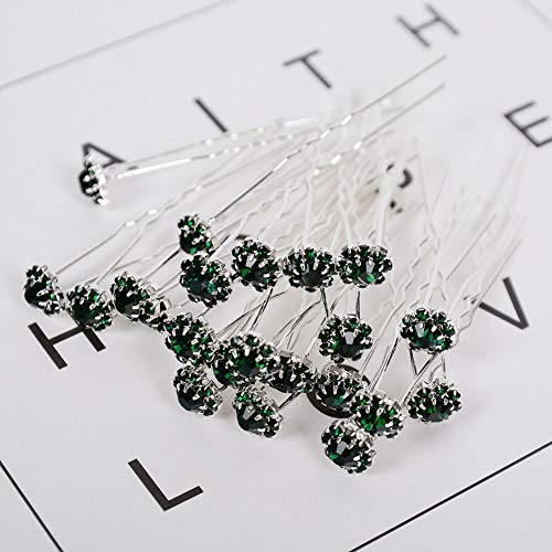 20/40Pc Wedding Hair Pins Bridesmaid Crystal Diamante Pearls Bridal Grips Lot (StyleID - #42-Green(20pcs))