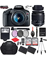 """$549 » Canon EOS Rebel T7 DSLR Camera with EF-S 18-55mm f/3.5-5.6 is II Lens Bundle, Starter Kit with Accessories (Gadget Bag, Extra Battery, Digital Slave Flash, 128Gb Memory, 50"""" Tripod and More)"""