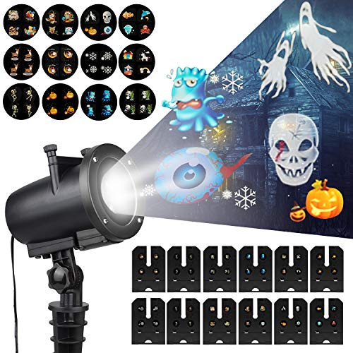 LED Christmas Anime Pattern Projector - Party Decorator Projector with 12 Switchable Slides, Waterproof IP65 Kids Cartoon Spotlight for Halloween, Easter, Thanksgiving, Birthday