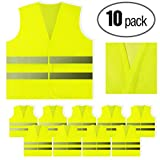 PeerBasics, 10 Pack, Yellow Reflective Safety Vest, Silver Strip, Bright Breathable Neon Yellow (Mesh, 10)