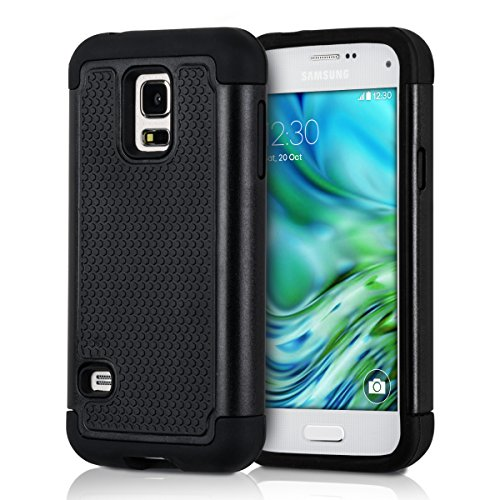 kwmobile Full Armor Case Compatible with Samsung Galaxy S5 Mini G800 - Heavy Duty Protective Hybrid Case Cover - Black (Samsung Galaxy S5 Mini Tough Case)