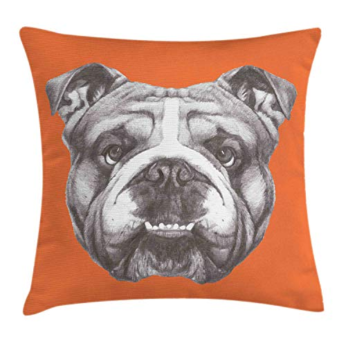 Ambesonne Dog Throw Pillow Cushion Cover, Hand Drawn Portrait of English Bulldog Cute Puppy Retro Animal Funny Cool Pet, Decorative Square Accent Pillow Case, 20 X 20 Inches, Orange Warm Taupe