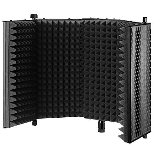 Neewer NW-1 Foldable Adjustable Studio Recording Microphone Isolator Panel, Aluminum Acoustic Isolation Microphone Shield with High-Density Foam, Non-slip Feet for Stand Mount, Desktop Desk Use(Black)