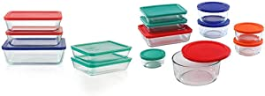 Pyrex Simply Store Meal Prep Glass Food Storage Containers (10-Piece Set) & Simply Store Meal Prep Glass Food Storage Containers (18-Piece Set, BPA Free Lids, Oven Safe),Multicolored