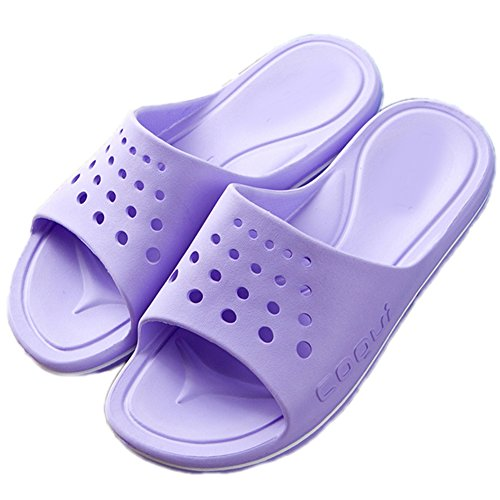 Hotel TELLW Bathroom Light Slippers Female Anti Bath Slide Men's Cool Summer Slippers Super Purple Women RgrwRq