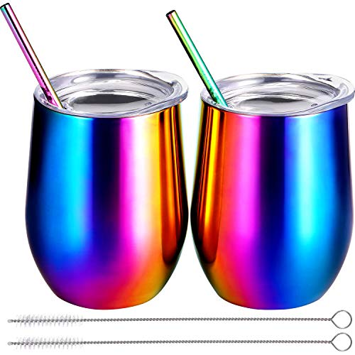 Cup Including Lid - BBTO 2 Sets 12 oz Stainless Steel Stemless Wine Glass, Unbreakable Double Wall Insulate Cup Tumbler with Lids for Wine, Coffee, Including 2 Pieces Straws and 2 Pieces Brushes (Colored Rainbow)