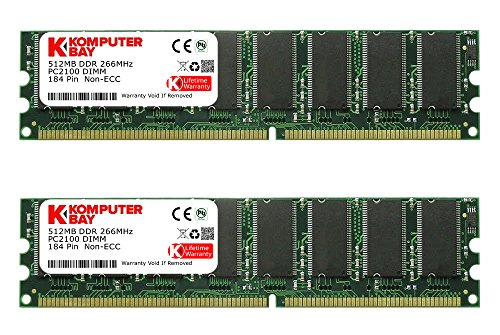 Komputerbay 1GB ( 2 x 512MB ) DDR DIMM (184 pin) 266Mhz PC 2100 Low Density 1 GB (Pc 2100 Ddr266 Computer Memory)