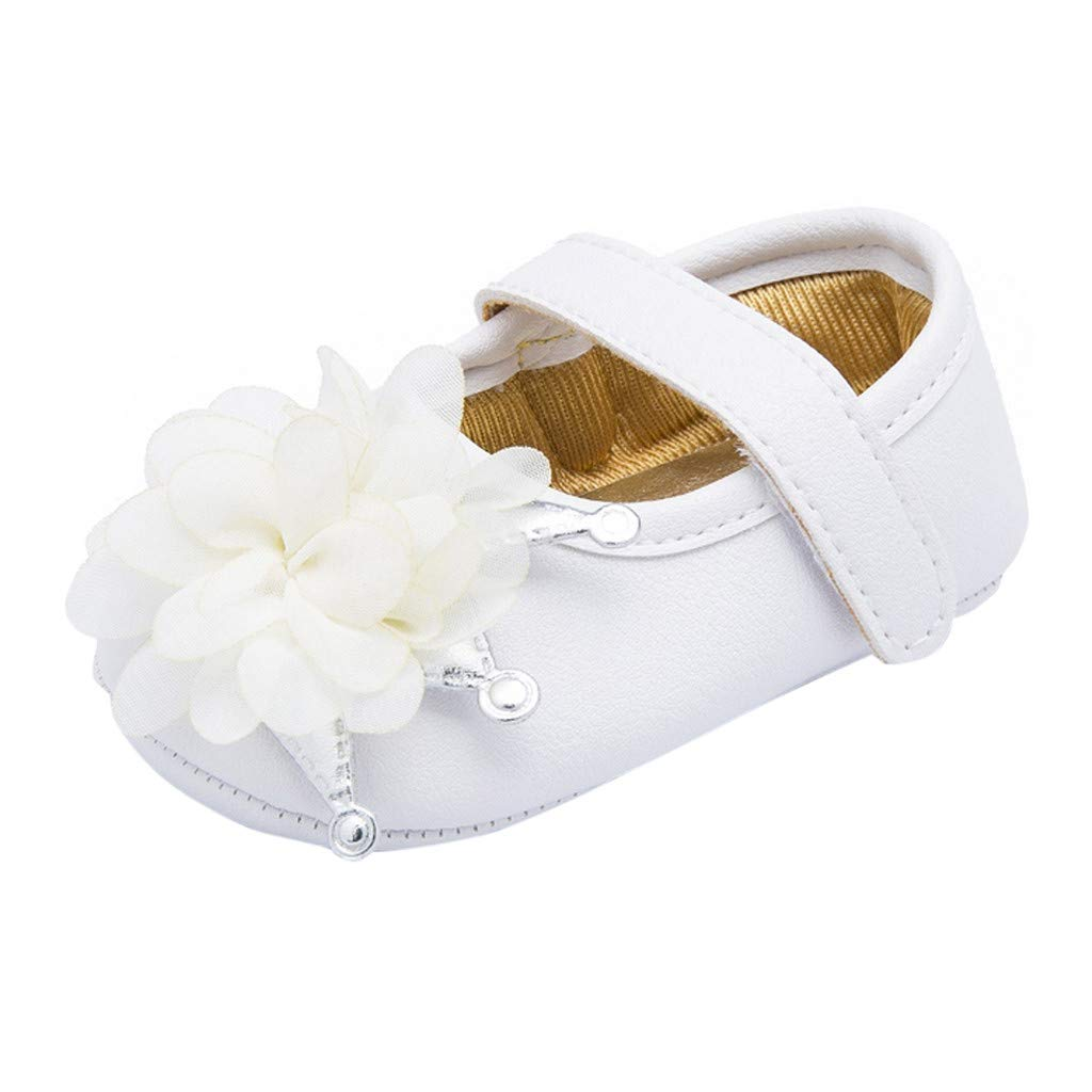NUWFOR Newborn Toddler Baby Boys Girls Flower Crib Prewalker Soft Sole Anti-Slip Shoes(White,0-6Months)