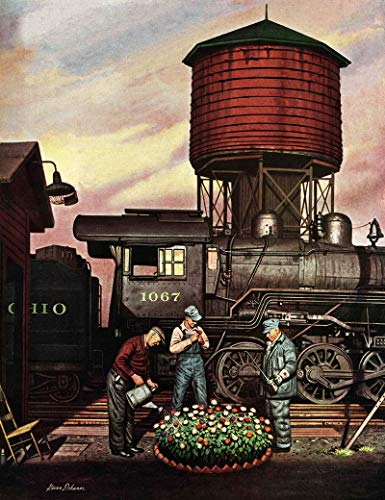 (Marmont Hill 31x24 Train Yard Flower Garden by Stevan Dohanos Painting Print on Wrapped Canvas, 31