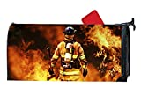 Fire Fighter Hero Magnetic Mailbox Cover Personalized Spring Summer MailWrap Mailbox Makeover Cover Vinyl with Full-surface Magnet on Back