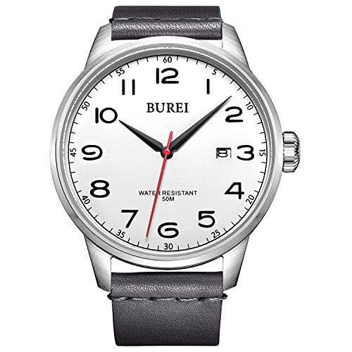 BUREI Men Women Watches Automatic Watch Classic Quartz Wrist Watch Fashion Analog Dial Round Case Stainless Steel Band and Leather Strap (US-SM-13017-01AE2)