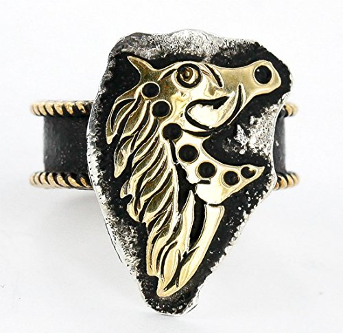 - .925 Sterling Silver and 12kt Gold Filled Handmade Certified Authentic Navajo Horse Native American Ring