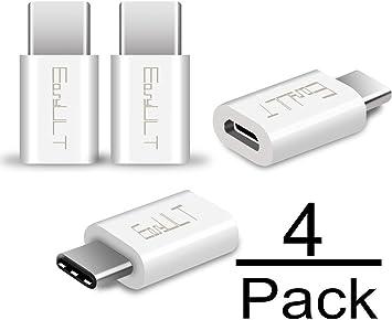 EasyULT Adaptador USB C, 4 Pack Adaptador USB Type C a Micro USB Conector Convertidor para Transferencia de Datos para XiaoMI, P20 Lite,Galaxy S9/S8 y más-Blanco: Amazon.es: Electrónica